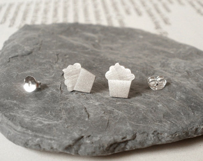Cupcake Earring Studs In Sterling Silver, Bakery Earring Studs Handmade In The UK
