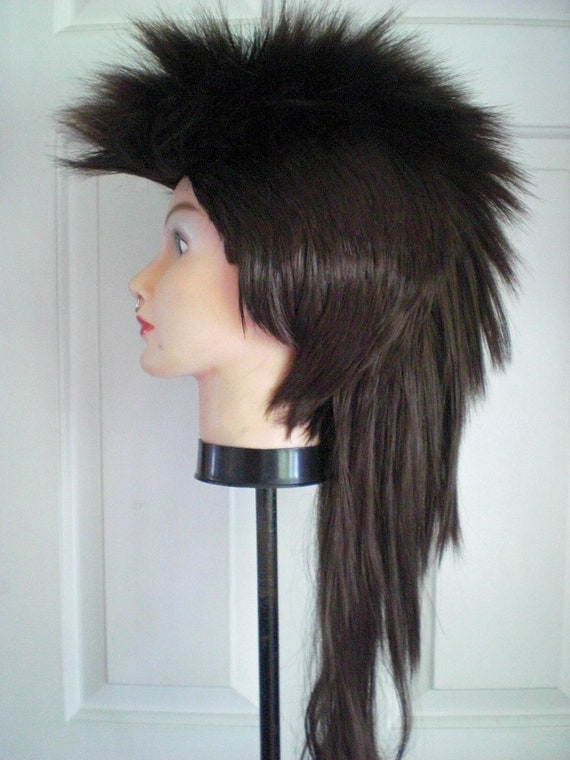 mohawk wig punk rock dark brown long halloween costume dark