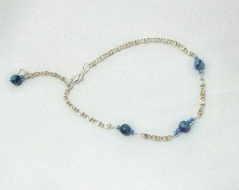 Ankle Bracelet Blue Beaded