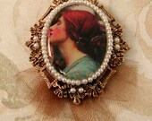 Soul of the Rose Brooch // JW Waterhouse image // Pre-Raphaelite // Romanticism // Victorian // Tulle & Pearl Accents // Goldtone Filigree