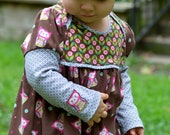 Owl Baby Dress - LAST ONE - Brown, Pink and Gray Cotton Knit, Owl and Floral Prints, Long Sleeves, Lapped Shoulders