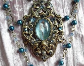 Blue Fairy Stunning Victorian Gothic Statement Necklace in Brass Filigree with Swarovski Rhinestones