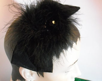 Black Bow Headband with Maribou and Beads