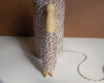 10 Yards Cappuccino Brown Bakers Twine on a Clothespin -- Ready to Ship