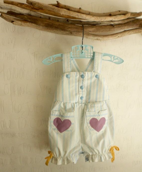 Baby Girls Romper Jumper striped overalls - 12m