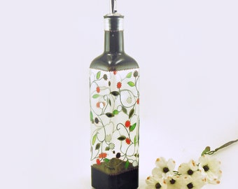 Hand painted glass bottle - Lydie Collection - Pewter vines with red, black and white fruit