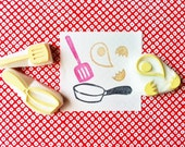 cooking stamp set. hand carved kitchen rubber stamps. frying pan turner egg. birthday mother's day scrapbooking. fun gift wrapping. set of 3