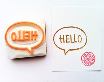 hello hand carved rubber stamp - speech bubble stamp - teacher's stamp - diy notes - snail mail decoration