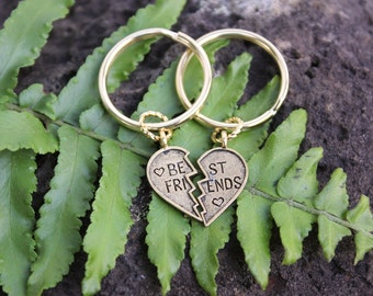 Best Friends Keychains- split heart - two key rings in gold - for friendship - BFFs - Free Shipping USA