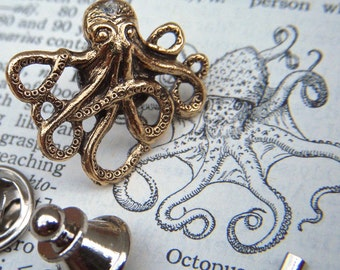 Gold Brass Octopus Tie Tack Lapel Pin Gothic Victorian Nautical Steampunk Style From Cosmic Firefly