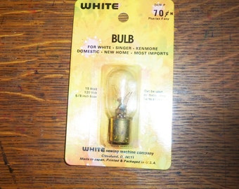"""2 Appliance Light Bulb Vintage 15w 5/8"""" push in Singer Kenmore White Sewing Machine part"""