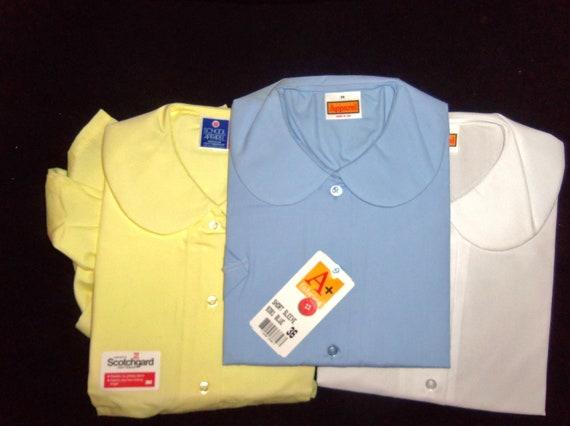 Vintage Peter Pan Collared Blouse Shirt Top BLUE  size  large