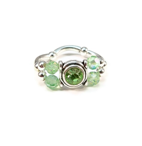 Cocktail Ring Peridot Green Crystals Stretch Band Womens