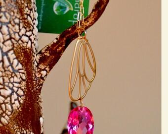 SALE. Hot Pink Topaz Gold Necklace.  Large Pink Topaz  Necklace. Butterfly Wing Necklace.