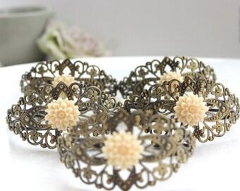 Floral Flower Bracelet, Cuff Bracelet, Flower Cuff Bracelet, Lace Cuff Bracelet, Bridesmaids Gift, Bridal Bracelet, Gifts for Her, Rustic
