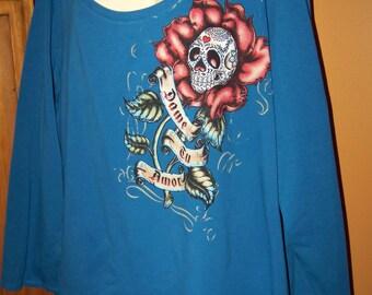 Plus Size 4X Dame tu Amor, Plus Size Clothing, Women's Plus Size 4X Blue Shirt, Gothic 4X, 4X Sugar Skulls, Day of the Dead, Women's Plus