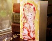 Jane Austen Cat Card, White Cat in Regency Dress Pride and Prejudice CLEARANCE Card
