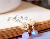 Ivory and Opal swarovski dangling sterling silver earrings