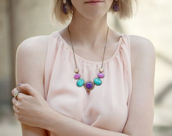 Jewel tones Statement necklace - Colorful bib necklace - Purple Necklace - Fuscia Necklace - Color Candy (BN020)