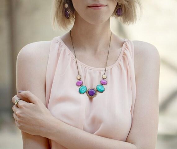 Jewel tones Statement necklace - Colorful bib necklace - Purple Necklace - Fuscia Necklace - Color Candy (BN020)