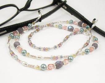Purple, Pink and Sage Colorful Eyeglass Lanyard, Eyeglass Leash, Necklace