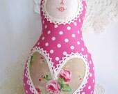 Pink polka dots Russian Matryoshka Babushka doll - made to order