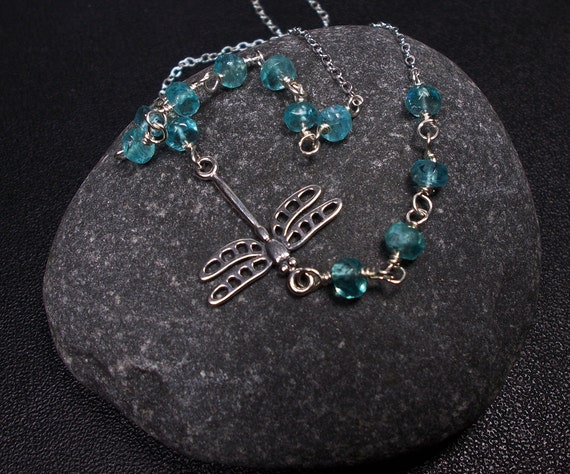 Dragonfly and Apatite Necklace, Beadwork Necklace,  Sterling Silver, Blue Necklace
