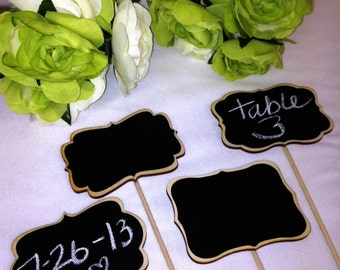 4 Mini Chalkboard Signs- Chalkboards on Sticks - Chalkboard Stakes - 6 Style Choices, Cake Toppers