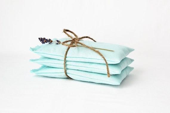 Aqua Blue Lavender Sachets  - Unique Bridesmaid Gift - Farmhouse Decor