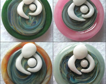 Glass Pendant Waterbirth Mother Baby Birth Jewelry Necklace Charm Handblown in Custom Colors