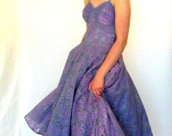 Lavender Tulle and Lace 50s Prom Dress