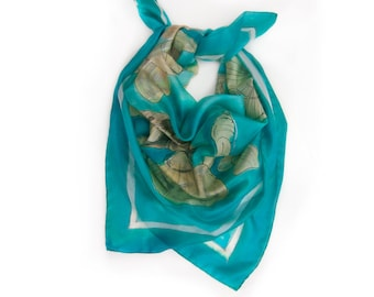 Square silk scarf/ Hand painted seashells scarf. Aqua blue ocean scarf. Painted scarves. Summer silk scarf. Mother's Day gift, birthday gift