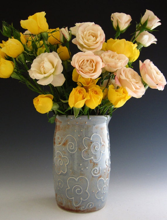 Pottery Vase in Rustic Blue - Flower Design - by DirtKicker Pottery
