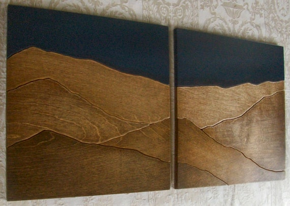 Mountains wood wall decor art two piece set by elwoodworks for Wooden art home decorations