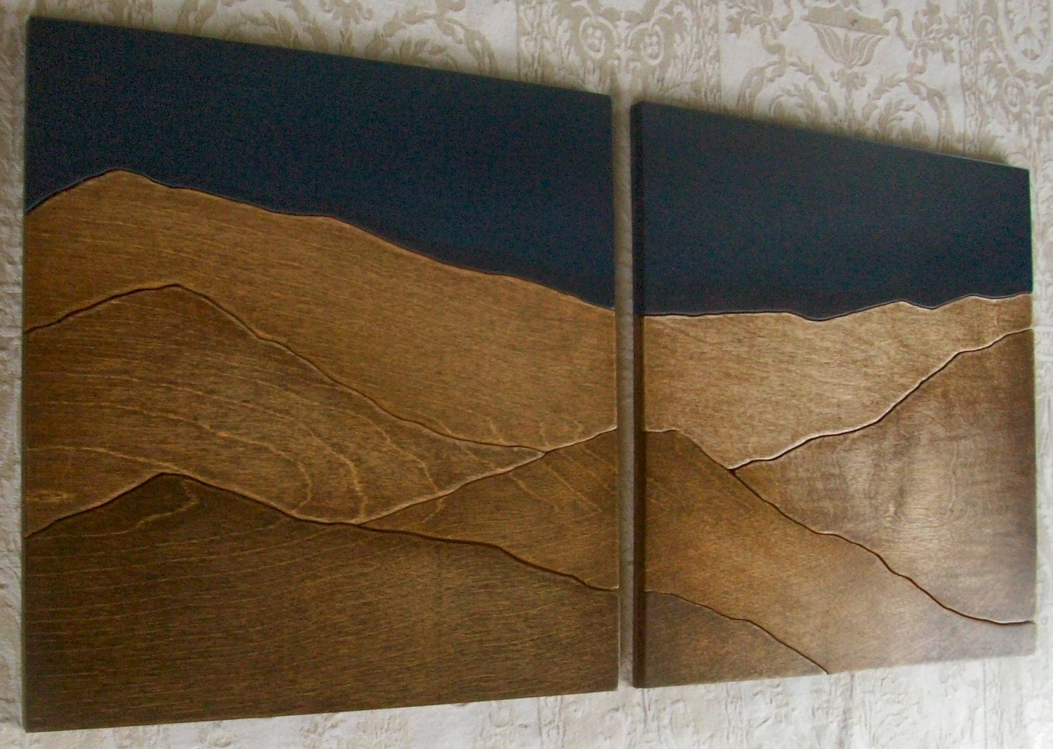 Mountains wood wall decor art two piece set 24x24 by for Wooden art home decorations