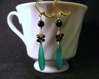 Onyx Cluster Earrings with Green Chalcedony, Gold Filled, Wire Wrapped