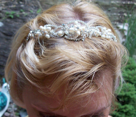 Regal Rhinestone and freshwater pearl bridal crown special occasion wedding sterling silver