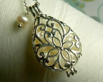 Worry Locket - white pearls teardrop locket / pearl locket / silver locket / locket necklace / white pearl necklace / pearl necklace