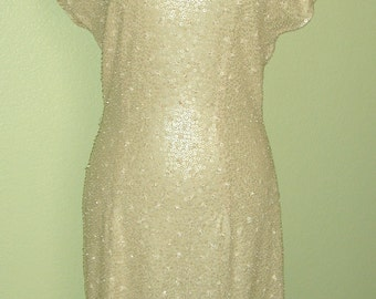Stunning Holiday Party Dress Sexy Vtg Carmen Marc Valvo Gorgeous Hand Beaded Cocktail Dress Asian Style Medium