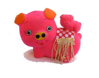 60s Piggy Bank Flocked, Hot Pink Pig Bank, Fuzzy Piggies