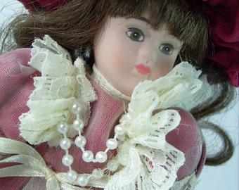 Vintage Musical Doll on Stand Victorian Bisque Fur Elise