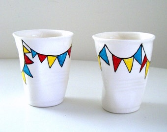 On Sale Ceramic Cup Duo Painted Triangle Banner Bunting Geometric Red Turquoise Blue Yellow Crinkled Party Cup - READY TO SHIP