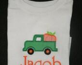 Personalized Pumpkin Truck shirt or bodysuit Fall Monogram Shirt