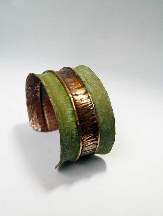Green Patina Stripe Fold Formed Hammered Copper Cuff