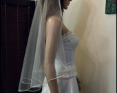 "Sweetness -Single Tier Satin Rattail Edge Wedding Veil Cascade 33"" Waist Length, Bridal Veil"