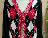 Women's Medium Upcycled Cardigan Sweater- Black Cherry Argyle