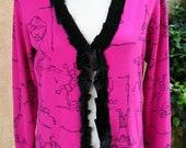 Women's Large Upcycled Cardigan Sweater - Stick Figures