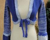 Women's Upcycled XS Cashmere Blend Bolero Sweater- Criss Cross
