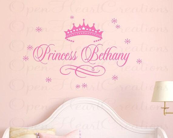princess name wall decal baby girl nursery vinyl custom name
