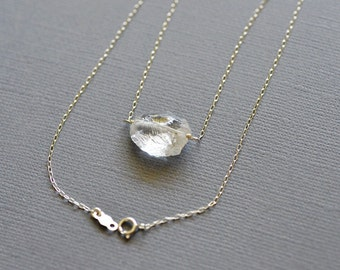 Ice Chunk Necklace in Sterling Silver - Rough Crystal Quartz - Hammer Faceted - Organic Shape - Wire Wrapped - ICE SET